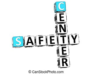3D Safety Center Crossword on white background