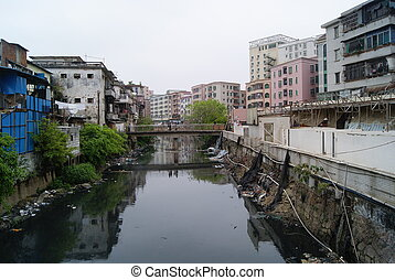 River and building