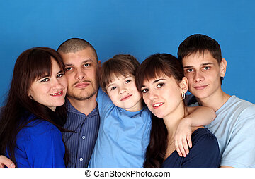 Caucasian beautiful family consisting of five people together