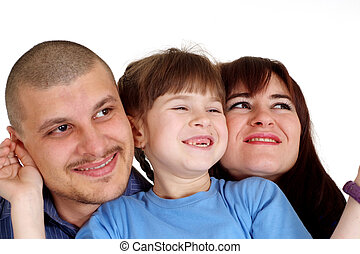 Caucasian beautiful luck family consisting of three people