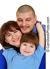 Caucasian beautiful nice family consisting of three people