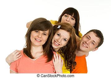 Caucasian brilliant campaign of four people fool around