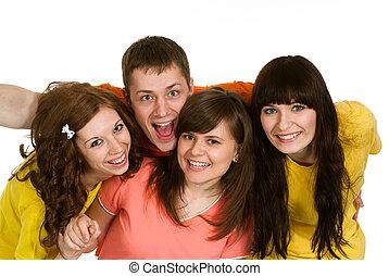 Good Caucasian brilliant campaign of four people fool around