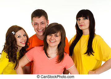 Happy nice brilliant campaign of four people fool around