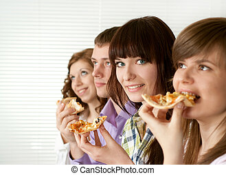 Luck funny Caucasian campaign of four people eating pizza