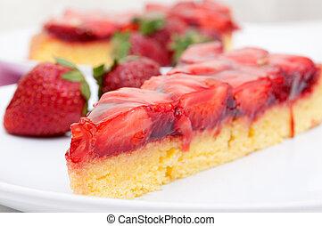 Strawberry Cake - Closeup of Homemade Strawberry Cake with...