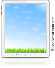 White Tablet PC with green grass and blue sky on the screen