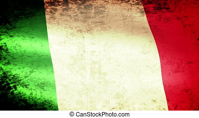 Italy Flag Waving, grunge look