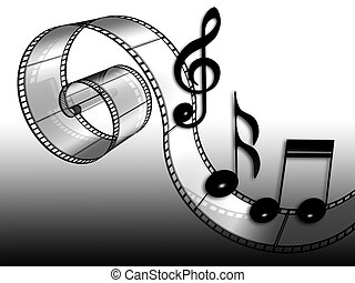 film - 3d illustration of film and music