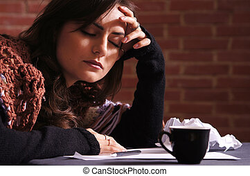 sad girl thinking with list - nice girl at table thinking...