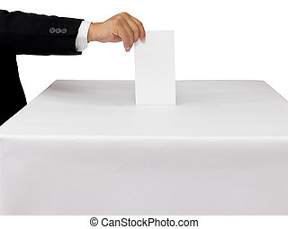 Gentleman hand putting a voting ballot in slot of white box...