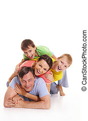 family in colorful clothes - cute family in colorful clothes...