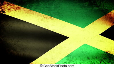 Jamaica Flag Waving, grunge look
