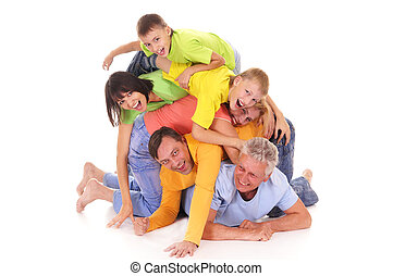 pile of people - nice pile of a colorful people on white