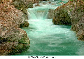 Tolminka alpine river in Slovenia, central europe