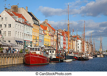 Copenhagen Nyhavn district in a sunny summer day -...