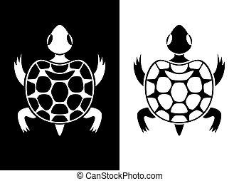 Decorative turtle for white and black backgrounds