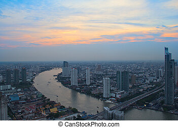 Sunset in Bangkok - Sunset over Chao Phraya river in...