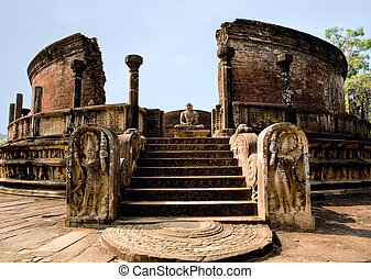 ancient Polonnaruwa temple - medieval capital of...