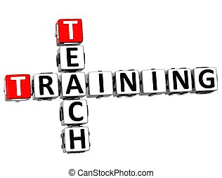 3D Teach Training Crossword on white background