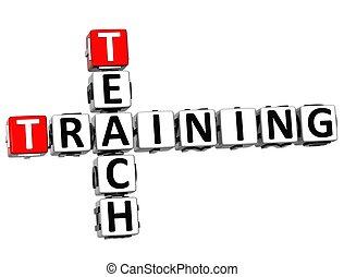 3D Teach Training Crossword on white background