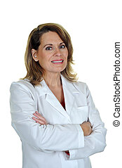 Woman Wearing White Lab Coat - Professional Woman in a White...