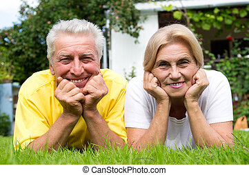 cute old couple outdoors - portrait of a cute old couple at...