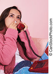sick girl speaking - portrait of a sick girl speaking at...