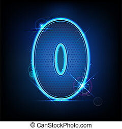 Glowing Number Zero - illustration of glowing number zero on...