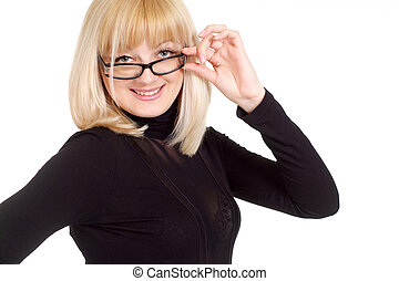 Portrait of a beautiful happy gladness blonde Caucasian woman