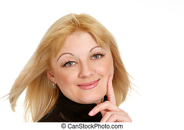 Portrait of a beautiful happy blonde Caucasian girl
