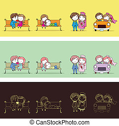 Newly Wed Couple - illustration of set of newly wed couple...