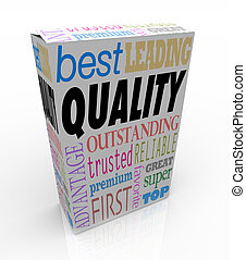 Quality Word on Product Box Top Best Choice - Quality makes...