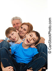 Happy luck Caucasian grandparents with grandchildren fooled...