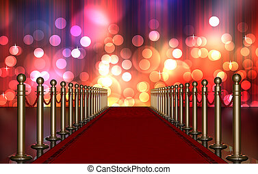 red carpet entrance with Multi Colored Light Burst - red...
