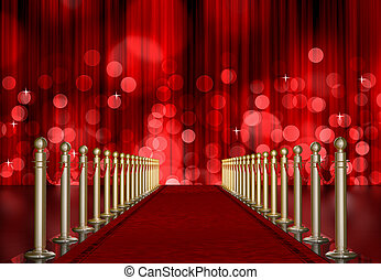 red carpet entrance with red Light Burst over curtain - red...