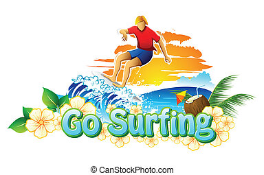 Go Surfing Campaign - illustration of surfer surfing in sea...