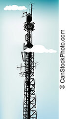 Antenna - Tall communication antenna with blue sky, vector...