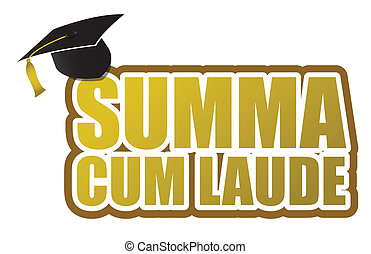 Summa cum laude graduation sign illustration design