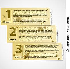 Vintage torn paper progress option labels