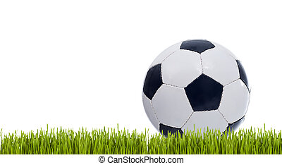 Classic soccer ball on grass - isolated with copy space