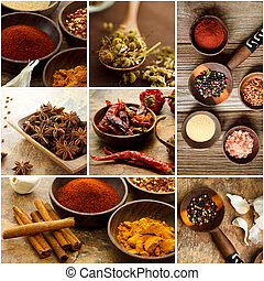 Spice Collage - Collage of many Spices