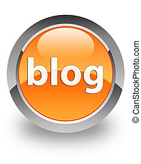 Blog glossy icon - Blog icon on glossy orange round button