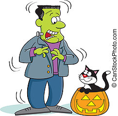 Frankenstein and Cat - Frankenstein monster looking at a cat