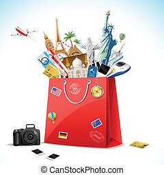 Holiday Package - illustration of shopping bag full of...