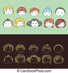 Head of Kids - illustration of head of different race...