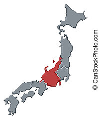 Map of Japan, Chubu highlighted - Political map of Japan...