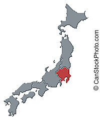 Map of Japan, Kanto highlighted