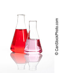 Two Erlenmeyer glass flasks with a red liquid - Two...