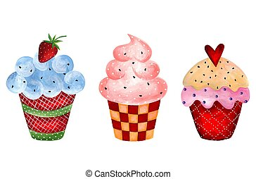 Set of cupcakes - Artistic work. Watercolors on paper